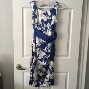 Le Chateau satin abstract floral dress with bow
